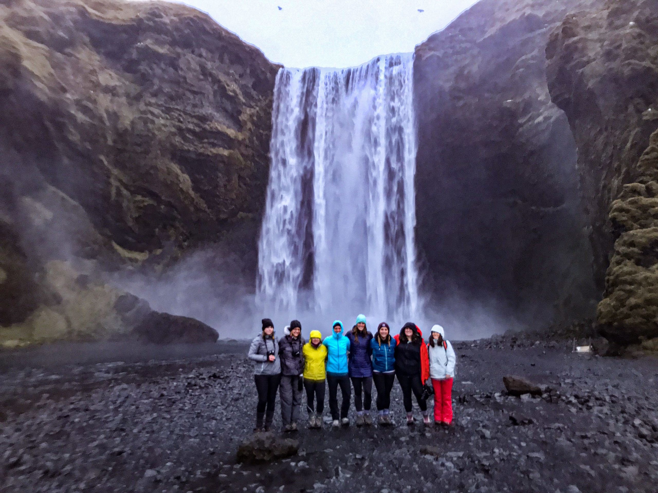 Women in front of a waterfall in Iceland